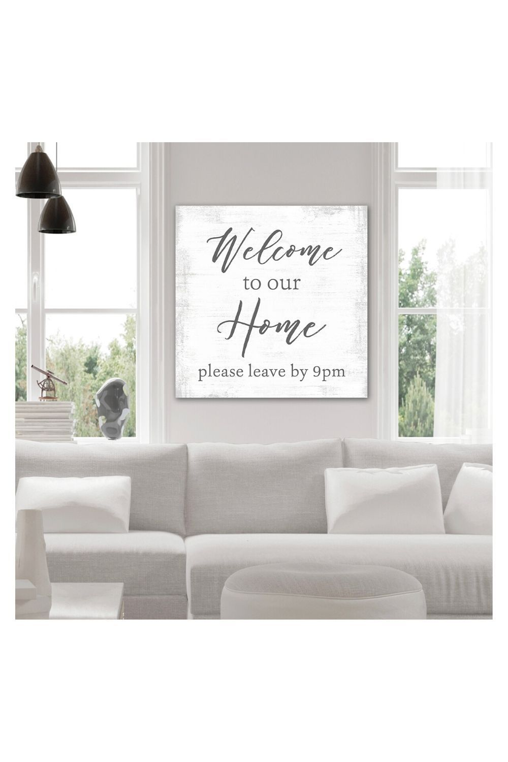 Welcome To Our Home Please Leave By 9 Sign Funny Entryway Foyer Living Room Canvas Wall Art In 2020 Living Room Canvas Perfect Living Room Canvas Wall Art Living Room