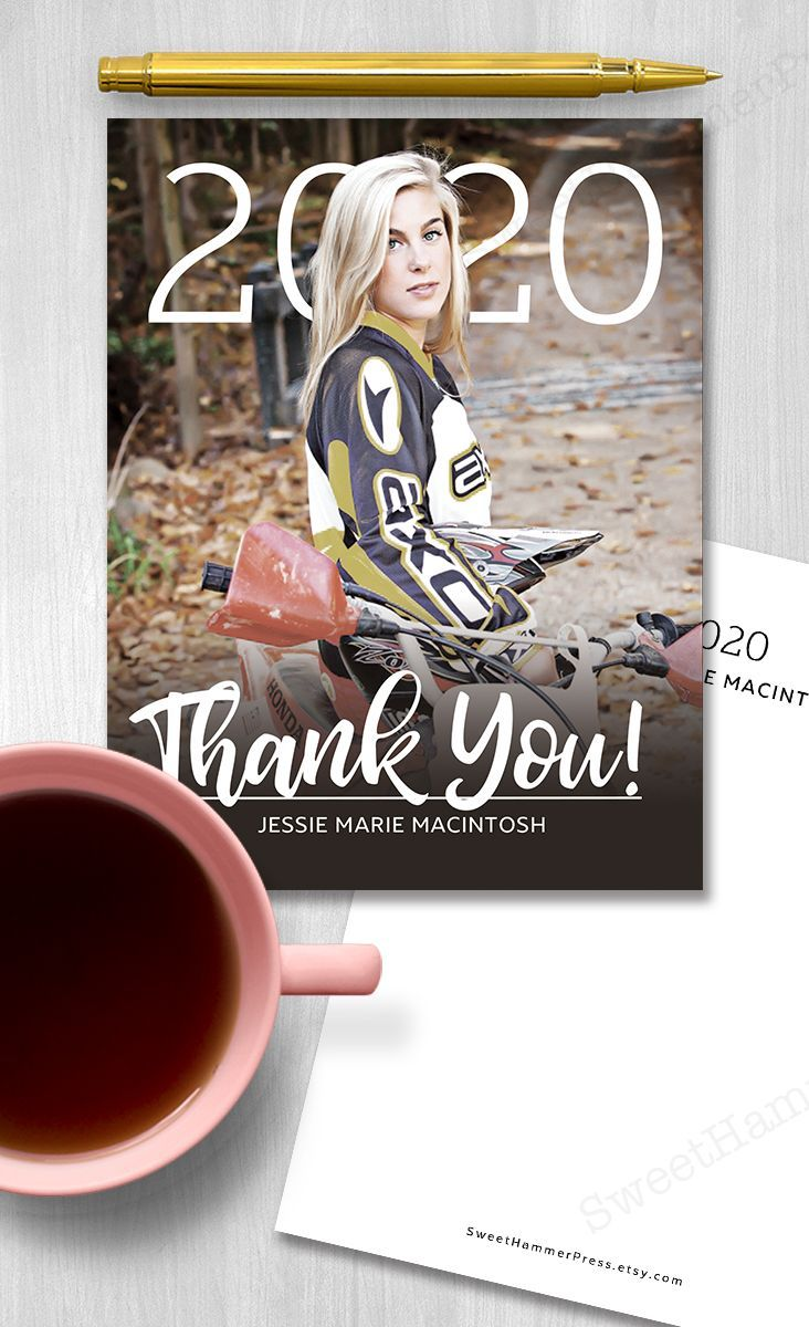 Graduation thank you cards with photo in 2020 graduation
