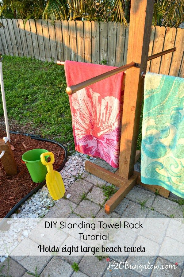 Tutorial To Make A Diy Outdoor Standing Towel Rack With 3 Options For All Building Levels Sy Drying And Beach Holder Pool Or