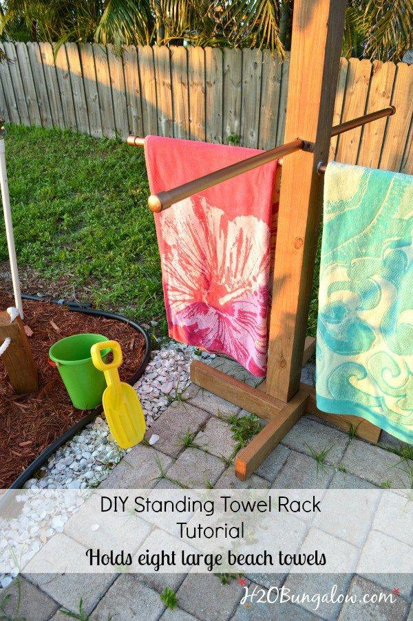 Diy Outdoor Standing Towel Rack Bloggers Best Diy Ideas