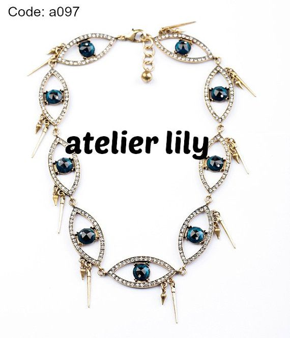 Eye shape necklace,punk party choker, short necklace Bib Necklace,handmade beaded necklace, bubble necklace, Statement necklace, gift, $24.99 (buy 2 and get 1 free!)