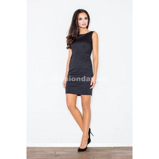 Spoločenské puzdrové koktejlové krátke šaty v čiernej farbe - fashionday.eu