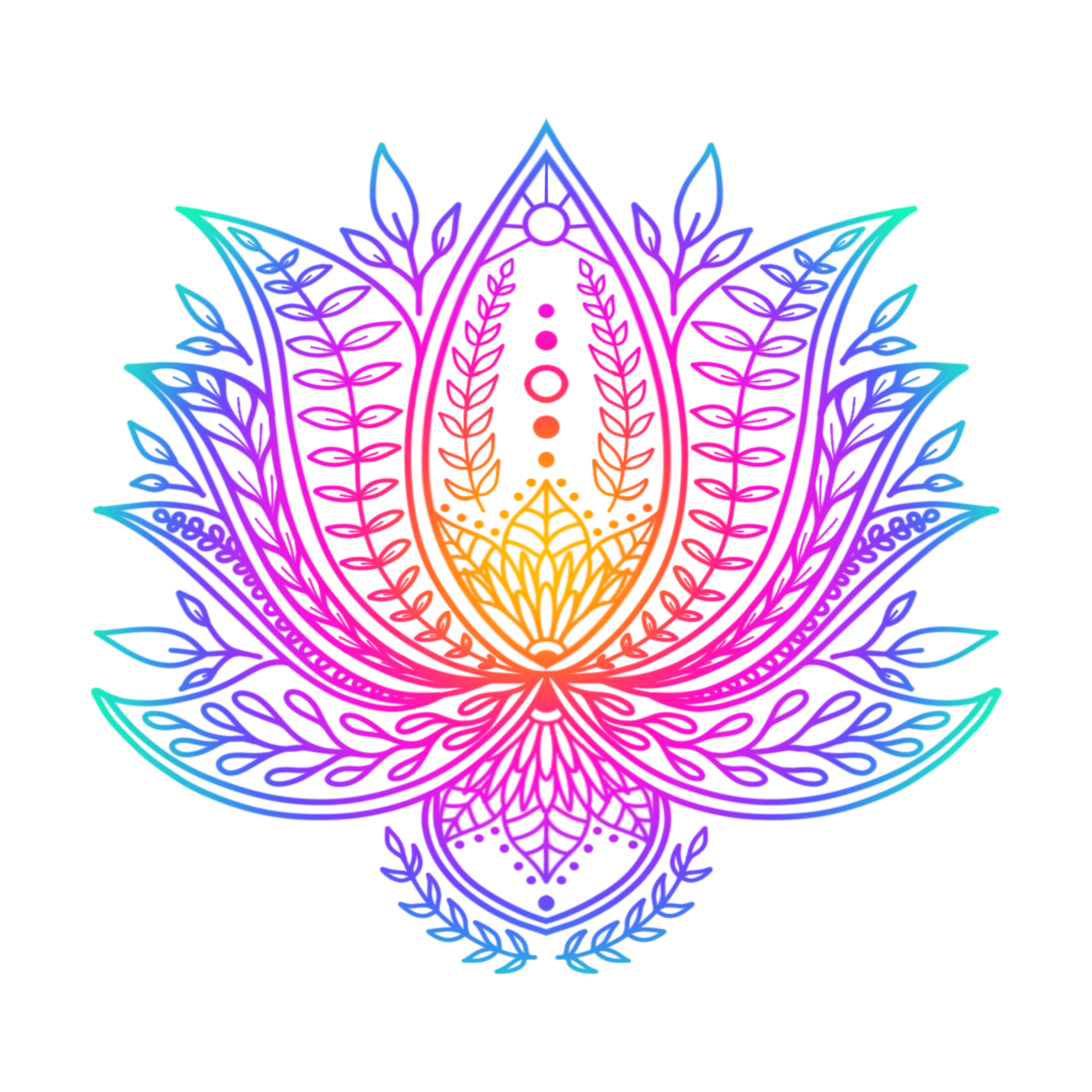 Botanical Lotus Rainbow By Eliza Bentley Rainbow Art Rainbow Mandala Palette Art