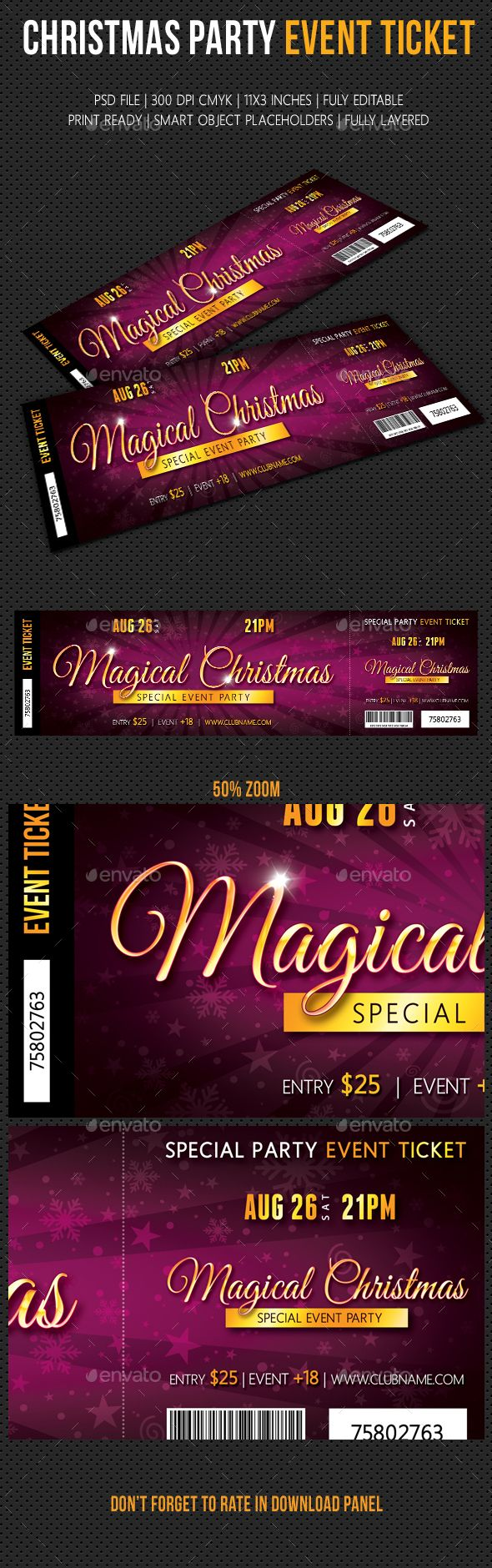 Christmas Party Event Ticket 02 – Christmas Party Tickets Templates