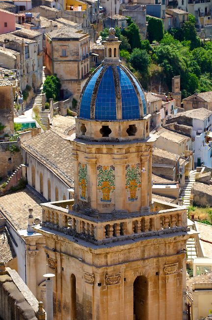 Santa Maria delli'Idria in the foreground and  Ragusa Ibla Sicily behind -