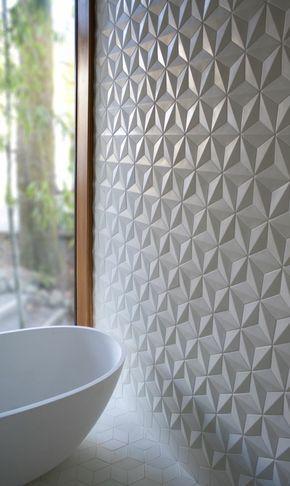 3d effekt weiß Badezimmer Fliesen Ideen cool Pinterest