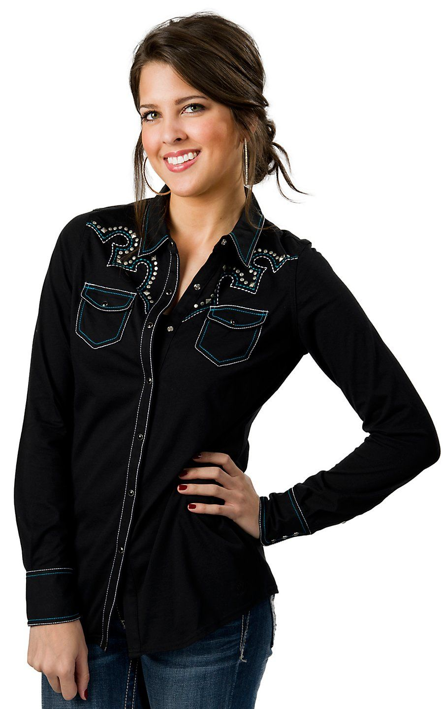 Cowgirl Hardware Women 39 S Black With White Aztec Print 3 4