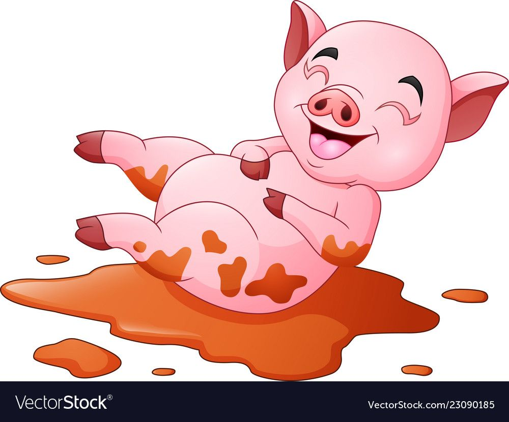 Illustration Of Cartoon Pig Playing A Mud Puddle Download A Free Preview Or High Quality Adobe Illustr Pig Cartoon Pig Illustration Farm Animal Coloring Pages