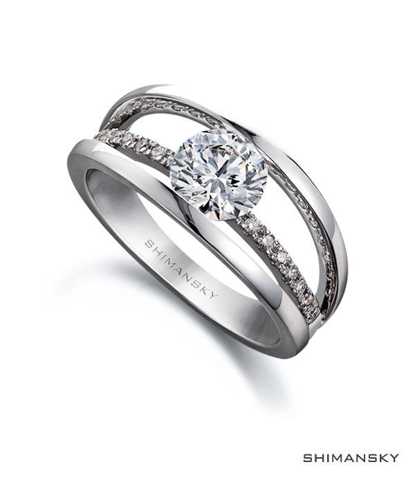 Shimansky Round Brilliant Cut Diamond Classic Evolym I Engagement Ring.