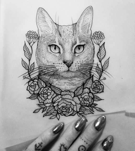 Illustration Cat Flower Dot Neotraditionel Neotraditional Neo Traditionel Draw Drawing Tattoo Ink Tattooe Cat Tattoo Designs Cat Tattoo Animal Tattoos