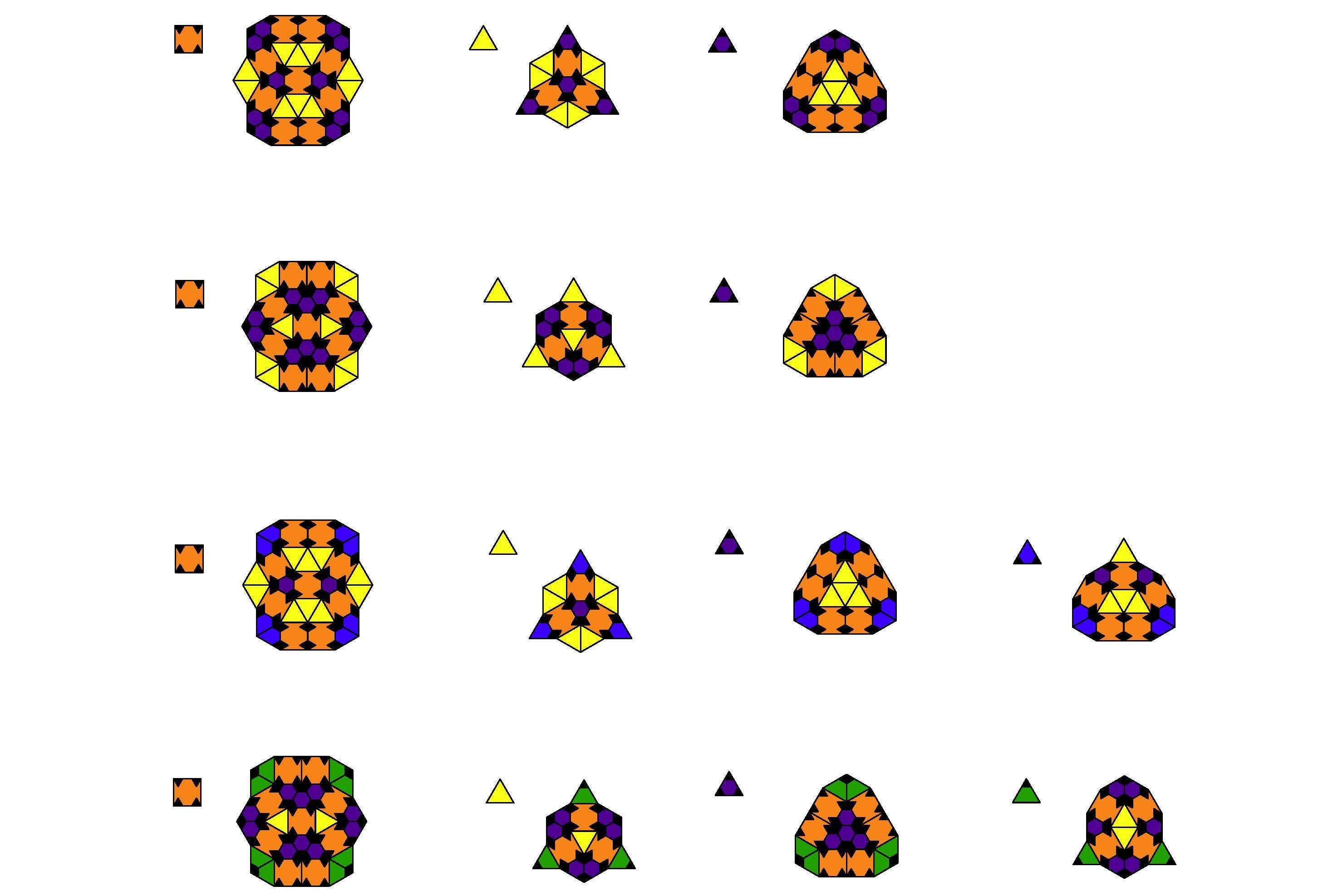 Substitution rules for four nonperiodic squaretriangle