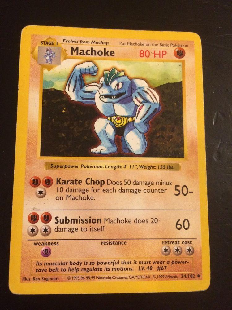 34//102 Machoke Shadowless Base Set Uncommon Pokemon TCG Card