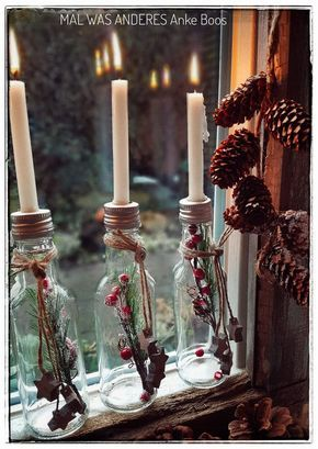 #Fensterdekoration zur #weihnachtszeit #christmas #advent #adventskranz #diy #idee #fensterdeko #machmal #weihnachtsdekofensterbank