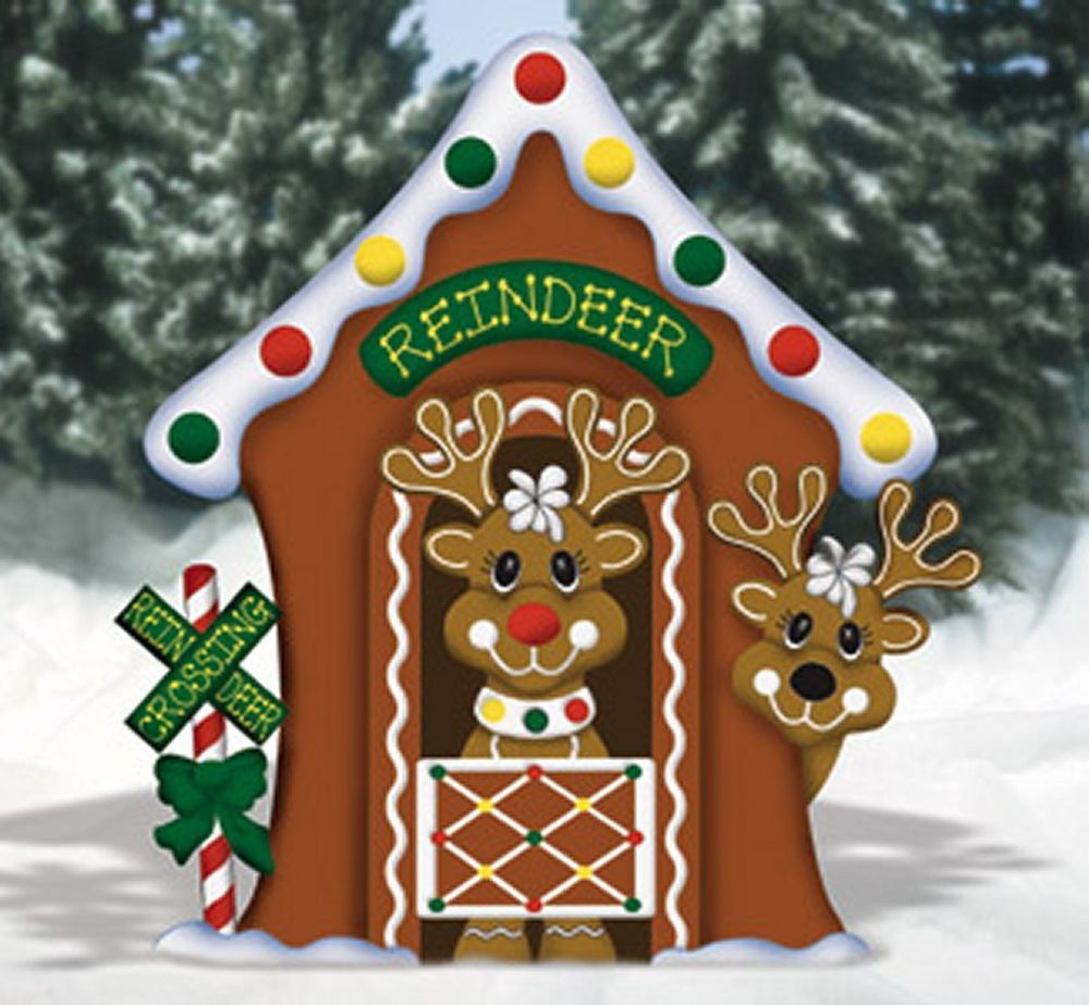 Outdoor wood christmas decorations - Christmas Gingerbread Reindeer Stable Yard Decoration