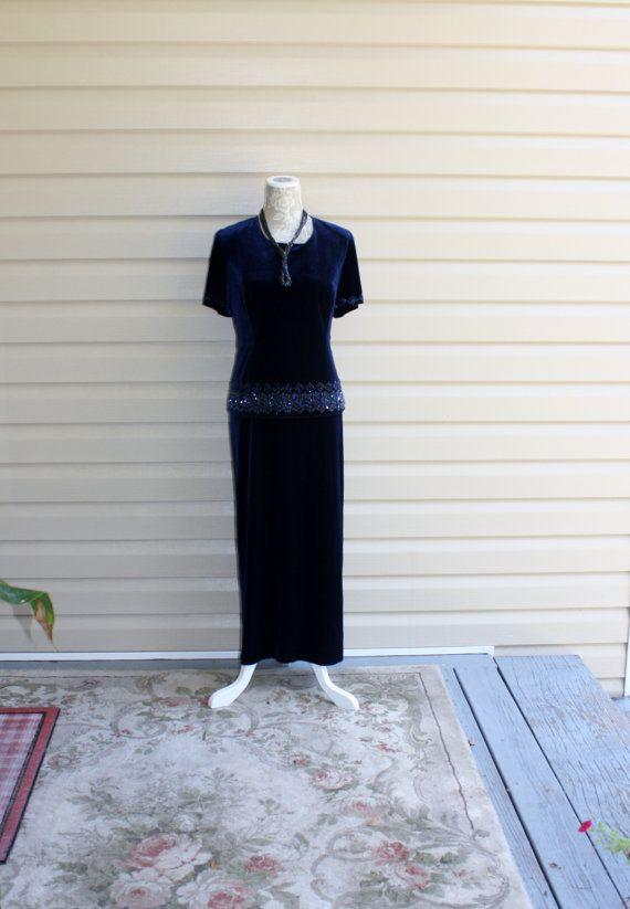 Gorgeous Crushed Velvet Dress R&M Richards Size by Romantiquetouch
