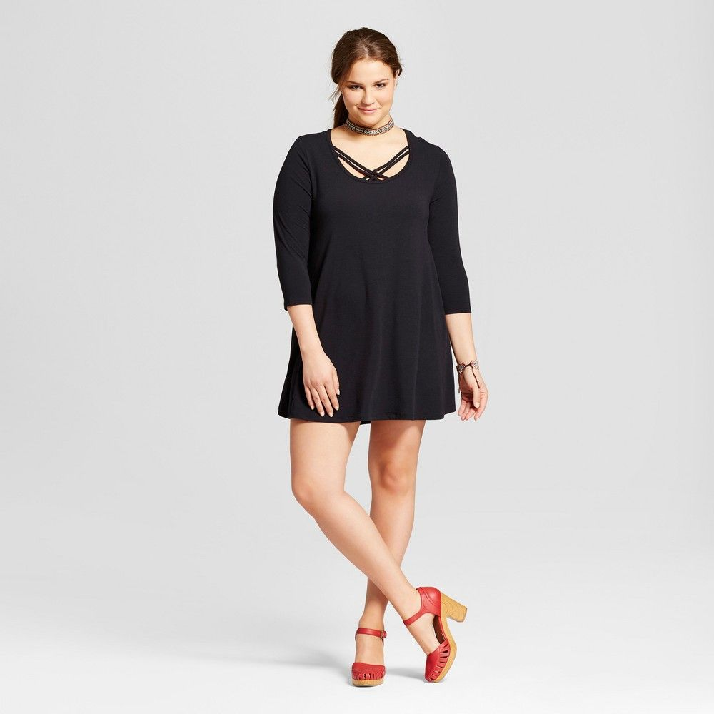 60f2ccc2df950 Women s Plus Size Short Sleeve T-Shirt Dress - Grayson Threads (Juniors ) -  Black 2X