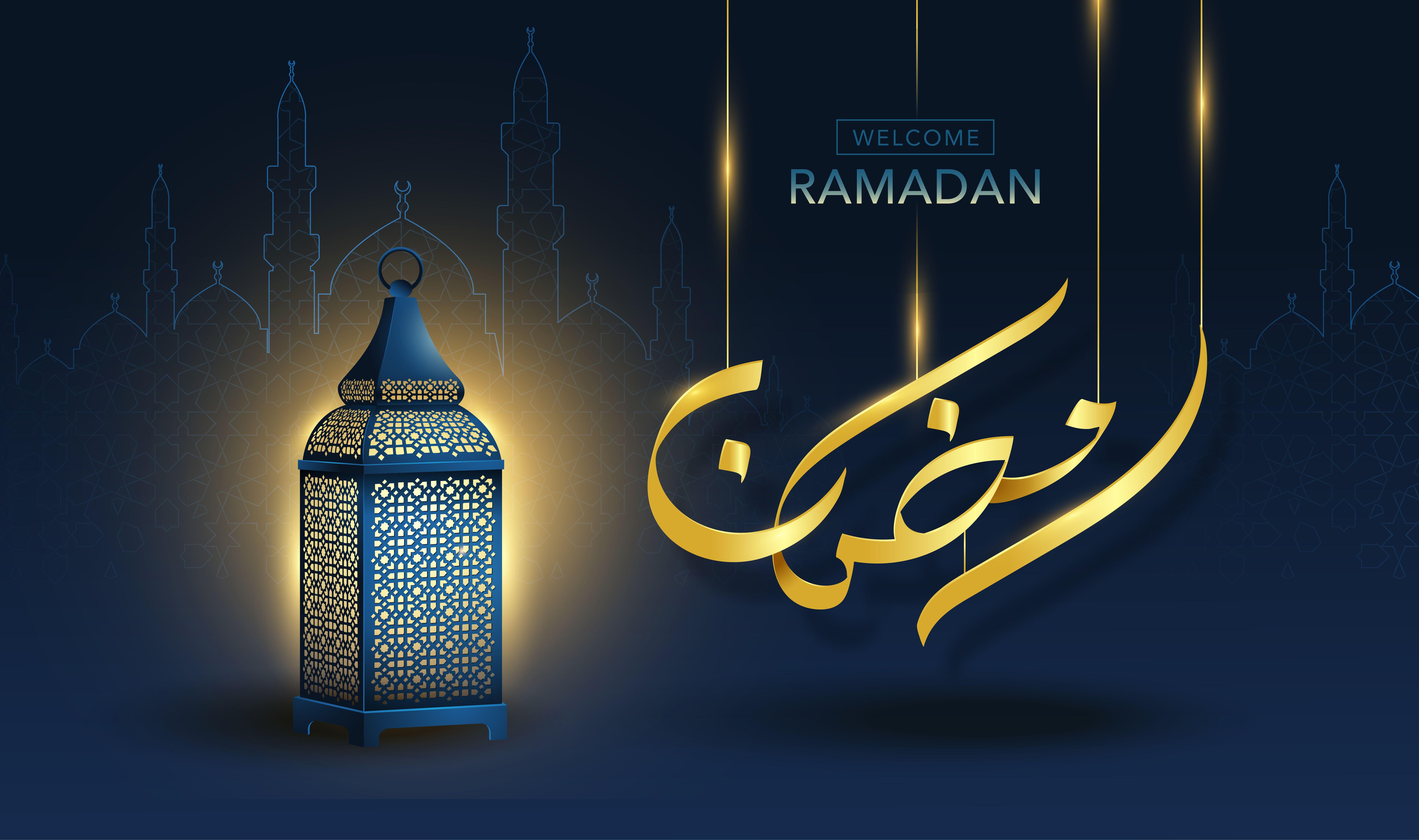 Welcome Ramadan Gold Calligraphy With Vintage Arabic Lantern On