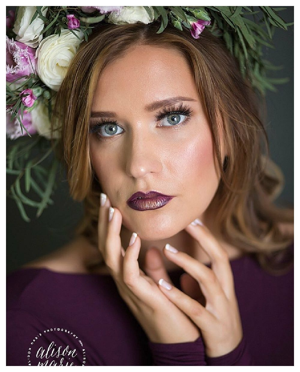 bold lip inspiration. boho flower crown. ct wedding hair and makeup