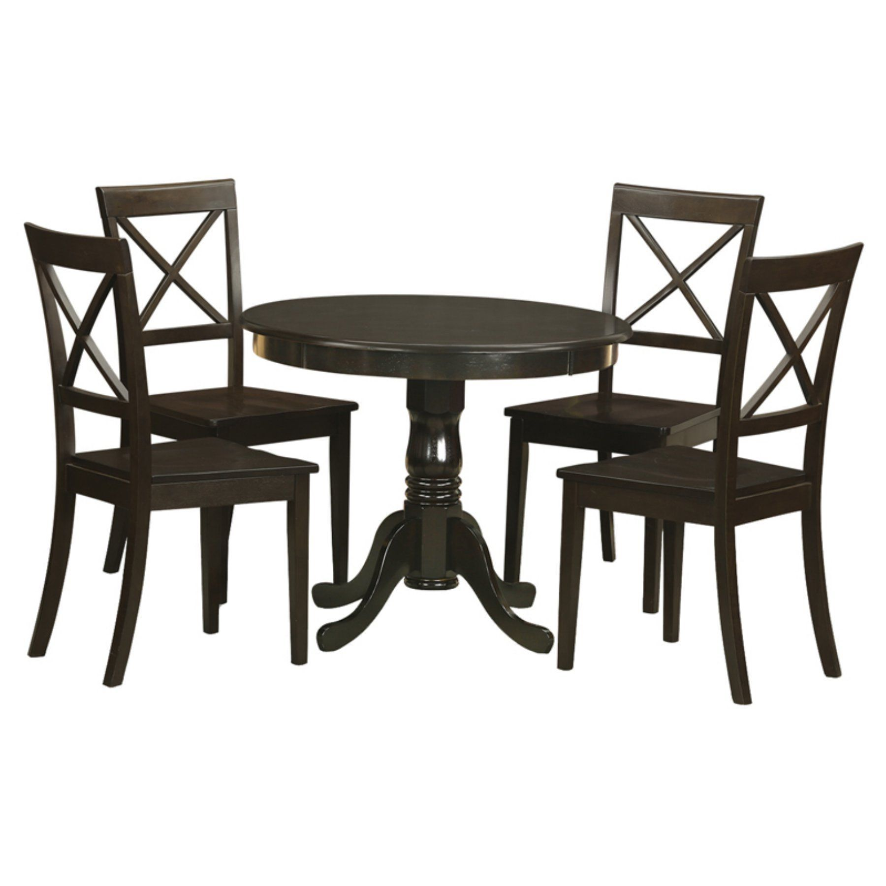 East west furniture antique piece pedestal round dining table set