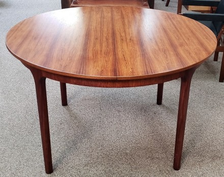 Vintage Round Rosewood Dining Table W Butterfly Leaf C 1960s