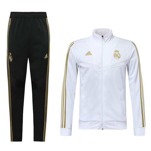 19 20 Real Madrid White High Neck Collar Training Kit Jacket Trouser Cheap Soccer Jerseys Shop Soccer Jersey Real Madrid Training Kit
