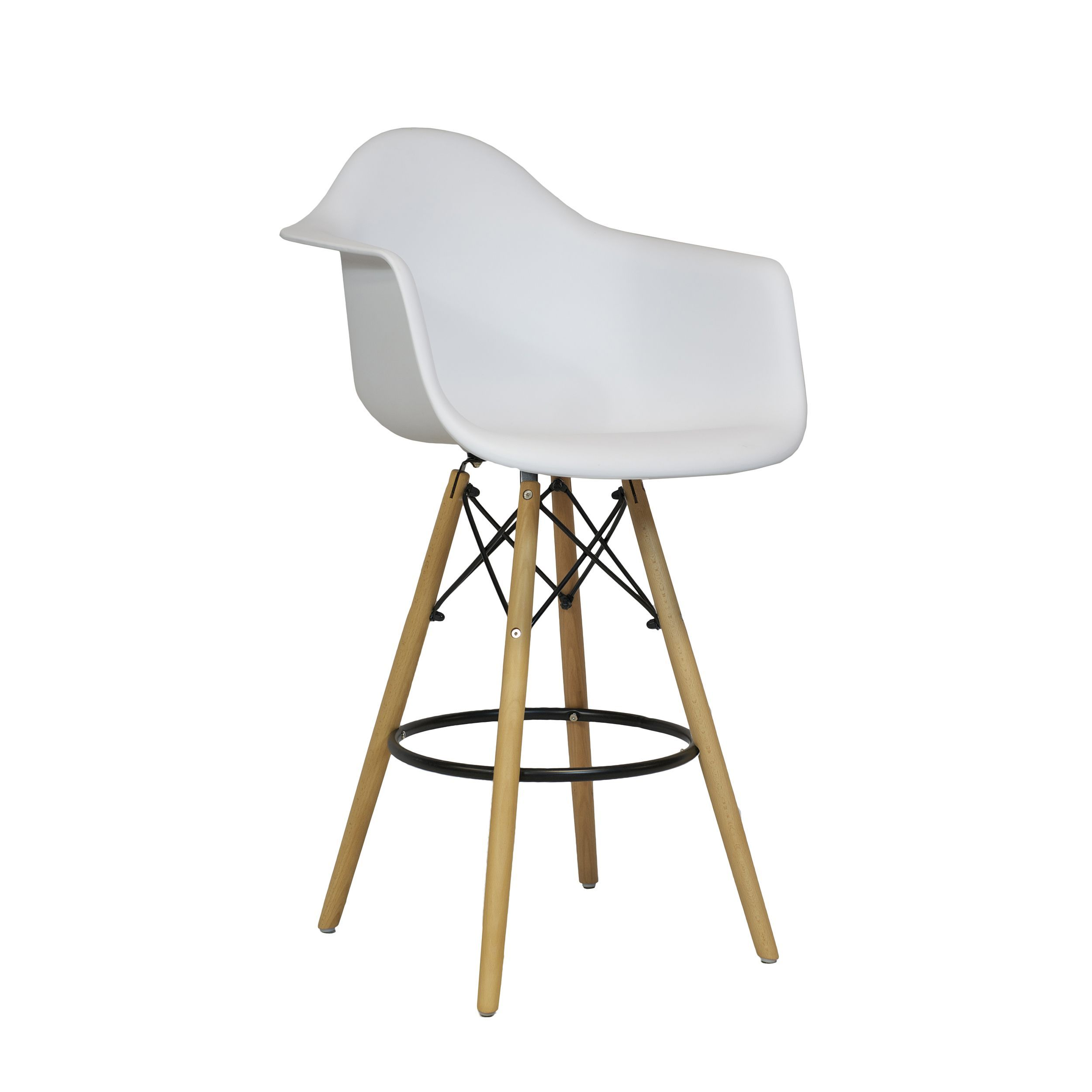 Handmade Mid Century Modern Molded Plastic 26 Inch Armchair Counter Stool India Blue Counter Stools Bar Stools Stool