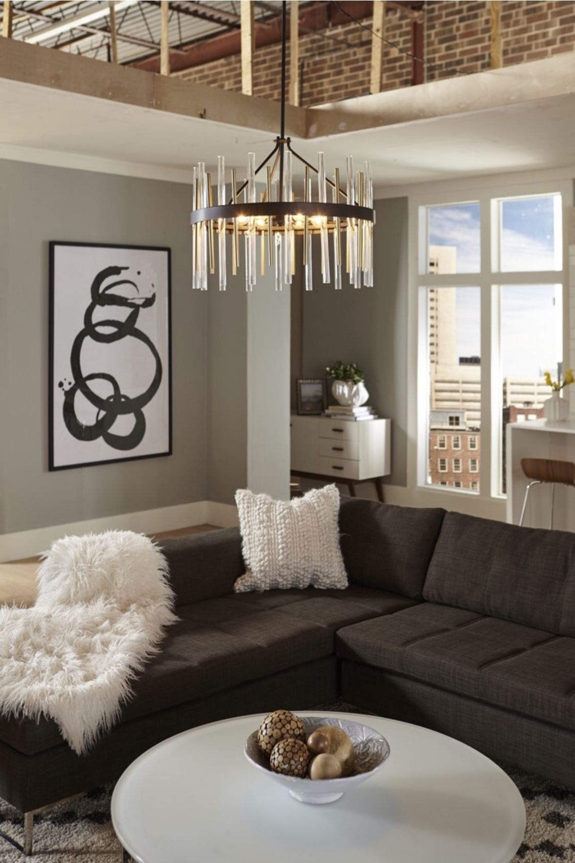 Modern Luxurious Living Room Design Features Large Geometric