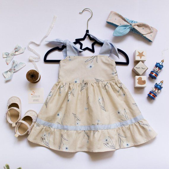 21c53a853a7fb Beige Sundress With Floral Print For Baby, Cotton Toddler Sundress ...