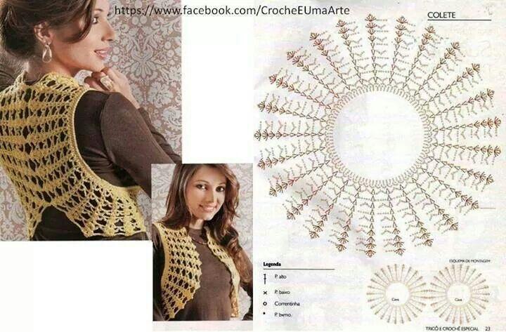 Colete | Crochet (Coletes, boleros, casaquinhos) | Pinterest | Kopf ...