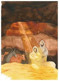 "The Nativity (8""x12"" art quality giclee print signed by artist John Meng-Frecker) sells for $38 with free shipping at shop.holywatercolor.com"