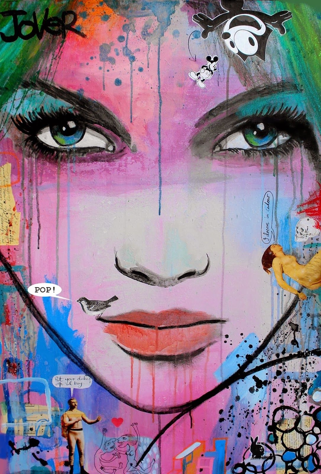 """I paint, i draw and i do it everyday"". Loui Jover is an Australian based painter with a unique style of art. He basically uses ink on pages from vintage books to create eye-catching and emotionally charged images of women's faces."