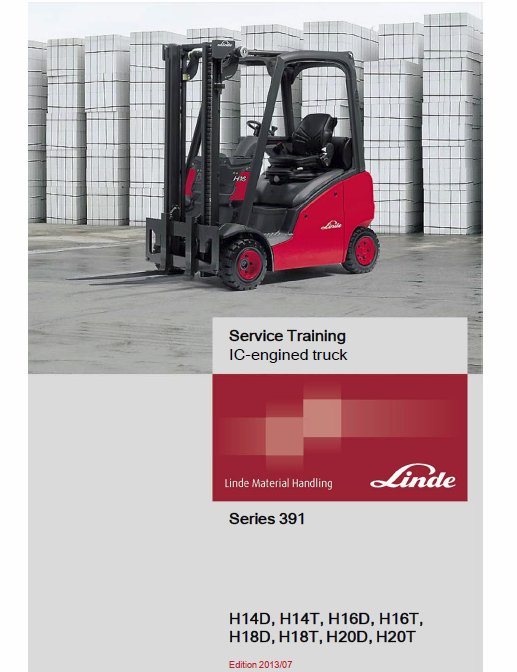 Linde 391 Forklift Truck H14t H16t H18t H20t Service Training Manual Truck Covers Forklift Trucks