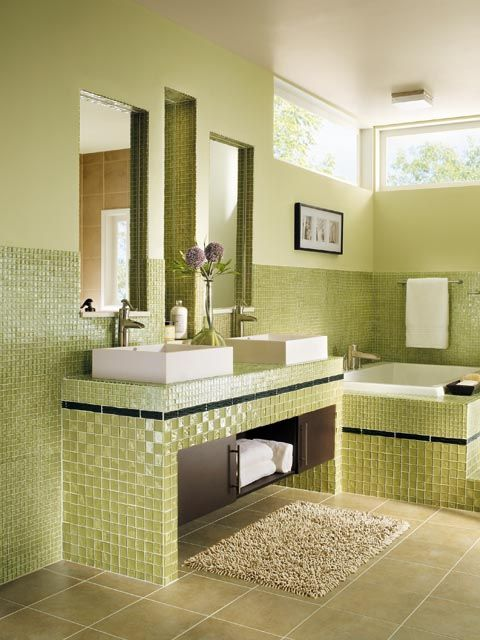 Bathroom Tile Decorating Ideas Renew Your Small Bathroom With Modern Decor In Green  Bathroom