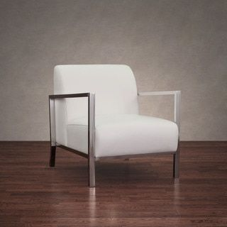 Modena Modern White Leather Accent Chair, Ivory Cream (Chrome ...