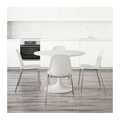 Ikea Round Table And Chairs: DOCKSTA / LEIFARNE Table And 4 Chairs, White, White