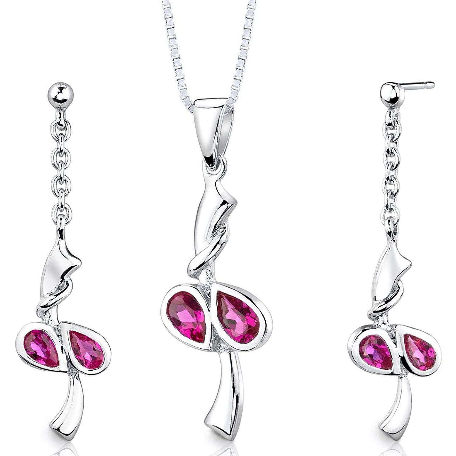 Sterling silver rhodium nickel finish pear shape created ruby