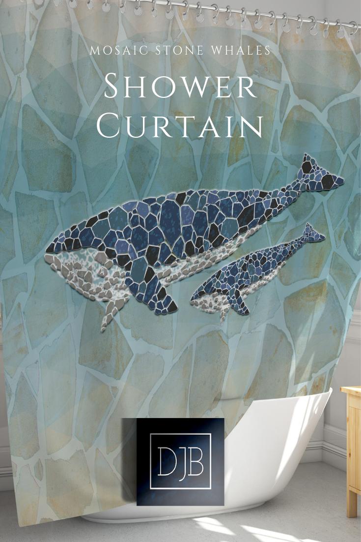 Sea Bottom Whales Polyester Waterproof Bathroom Fabric Shower Curtain 12 Hook
