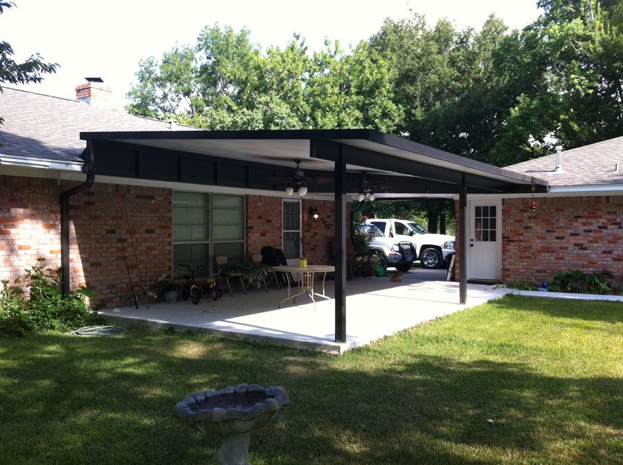 As You Can See On This One It Is Raised Above The Roof Line To Give More Height To Mount Ceiling Fans Pergola Plans Roofs Aluminum Patio Covers Aluminum Patio