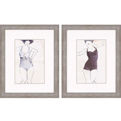 Paragon Vintage Bathers I 2 Piece Framed Painting Print Set