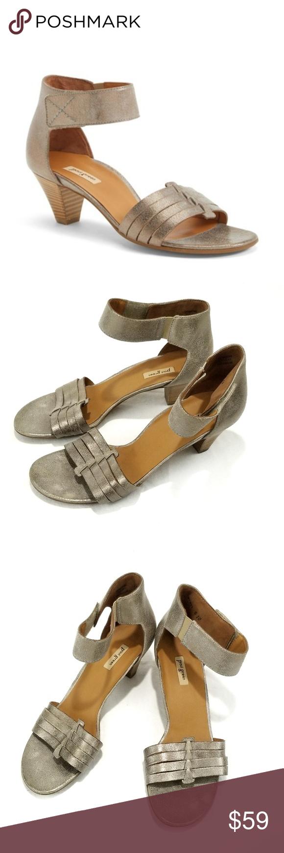 2d490aa428d Paul Green Coco Leather Smoke Metallic Heels 7.5 Paul Green COCO Leather  Ankle Strap Sandal Smoke