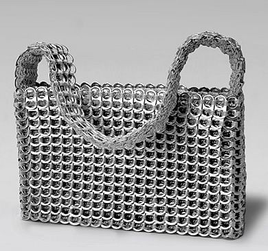 Surprisingly, this is crocheted with pop tabs.  I want to make one, but that means I have to collect tabs first...