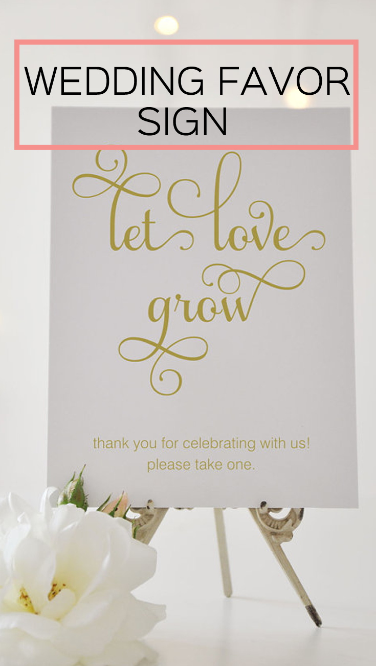 Let Love Grow, Wedding Favor Sign, Succulent Favor, Plant Favor ...