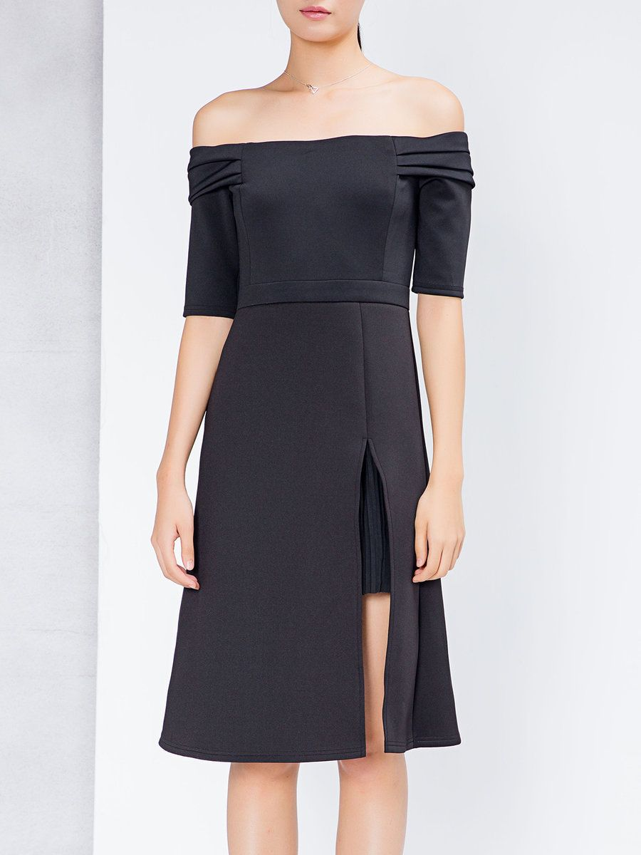 Naftul black shirt collar checkeredplaid casual midi dress simple