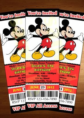 Mickey Mouse Ticket Invitations Template More | mickey ...
