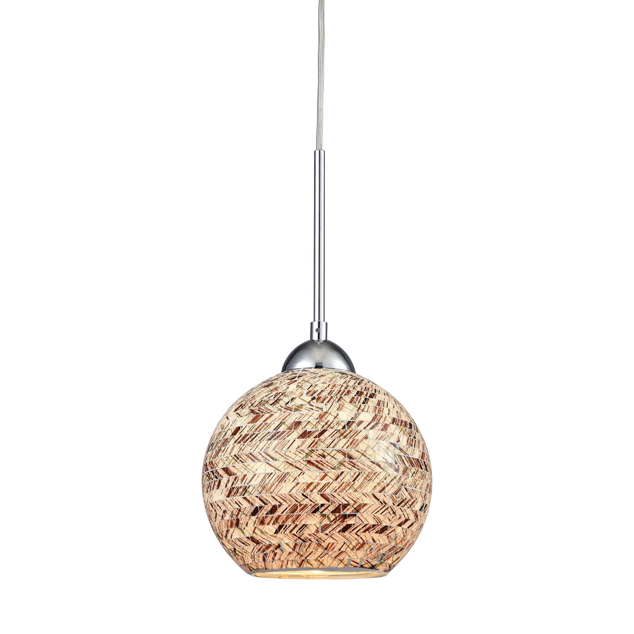 Crosshatch light pendant in polished chrome with painted