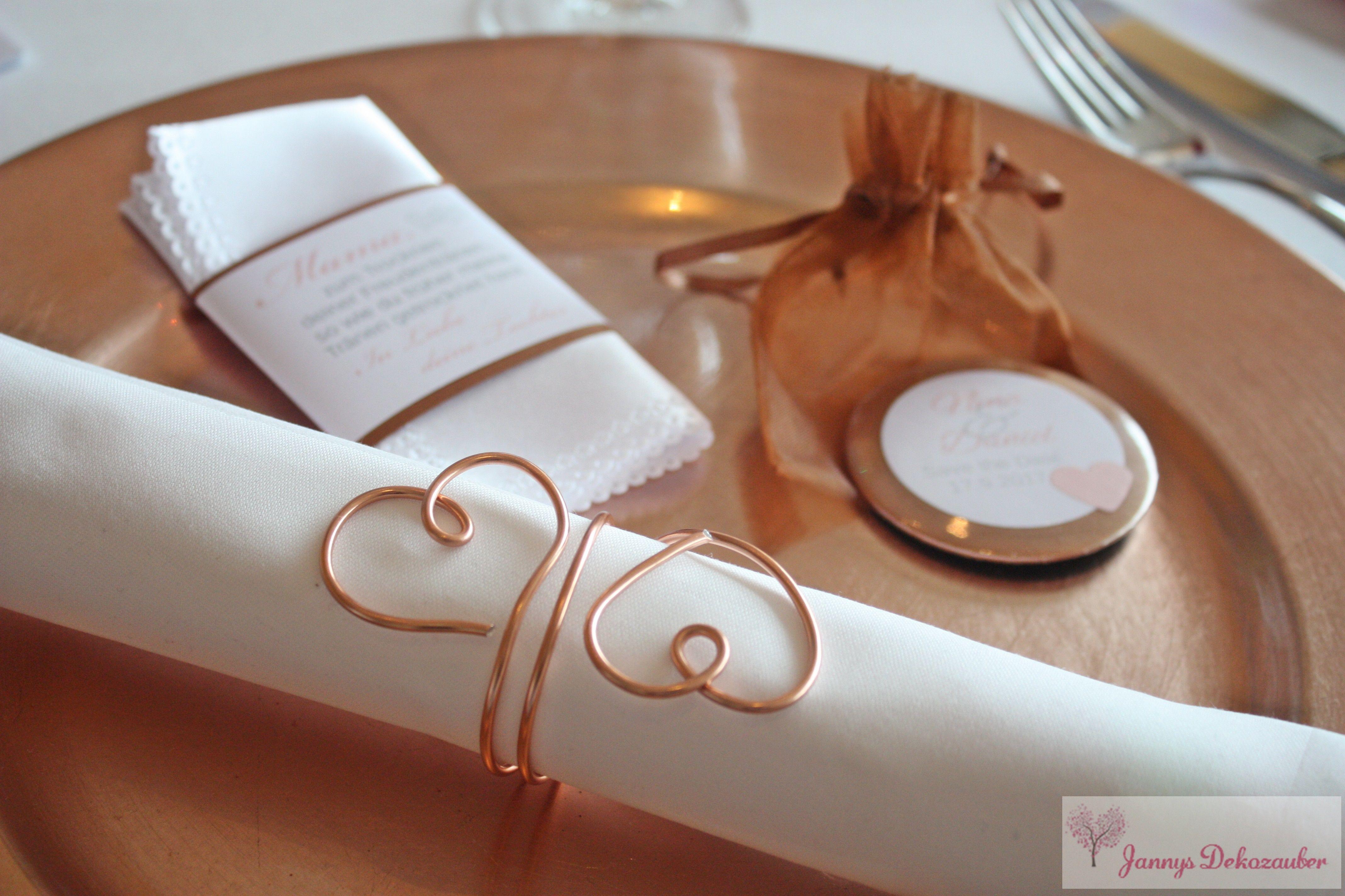 Stofftaschentuch Banderole Spiegel Taschenspiegel Kupfer Draht  Serviettenring Herzen Hochzeitsdeko Hochzeit Individuell Tischdeko