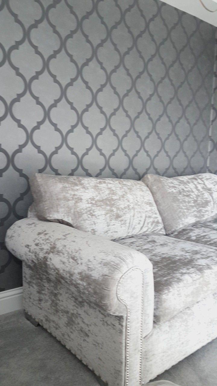 Light Grey Crushed Velvet Sofa Extra Deep Removable Back Cushions Studded Detailing Massive Rub Test Crushed Velvet Sofa Gray Velvet Couch Velvet Sofa