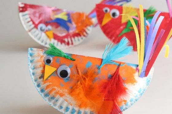 Paper Plate Rocking Birds With Images Bird Crafts Easy Arts
