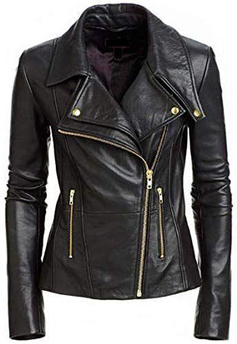 Womens Leather Jackets Motorcycle Bomber Biker Black Real Leather Jacket Women