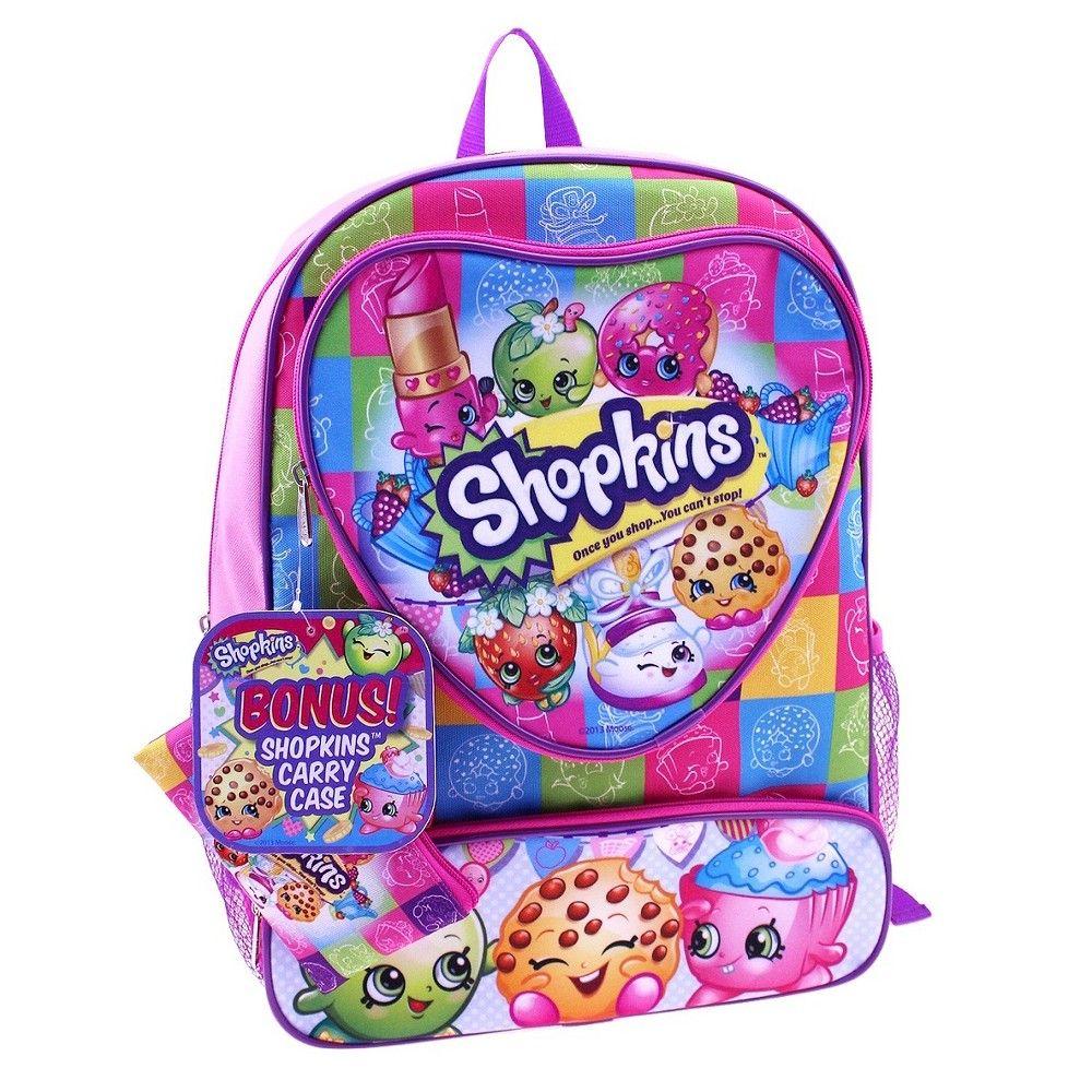 099a9368962 Shopkins 16 Kids  Backpack with Bonus Dangle Carry Case - Pink ...